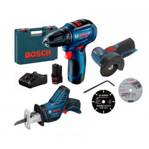 Аккумуляторная бесщеточная дрель-шуруповерт Bosch Professional GSR 12V-30 (06019G9000) + Сабельная пила Bosch GSA 10.8 V-Li (060164L902) + Угловая шлифмашина Bosch Professional GWS 12V-76 (06019F2000)