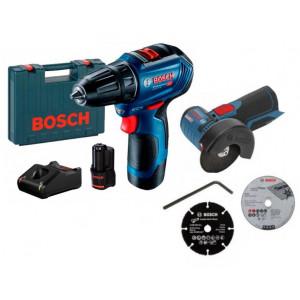 Аккумуляторная бесщеточная дрель-шуруповерт Bosch Professional GSR 12V-30 (06019G9000) + Угловая шлифмашина Bosch Professional GWS 12V-76 (06019F2000)