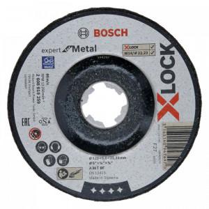 Диск шлифовальный по металлу Bosch X-LOCK 125x6x22.2 мм, выпуклый, Expert for Metal (2608619259)