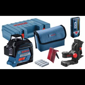 Линейный лазерный нивелир Bosch Professional GLL 3-80 + Универсальный держатель Bosch BM 1 + Лазерный приемник Bosch LR 7 + кейс